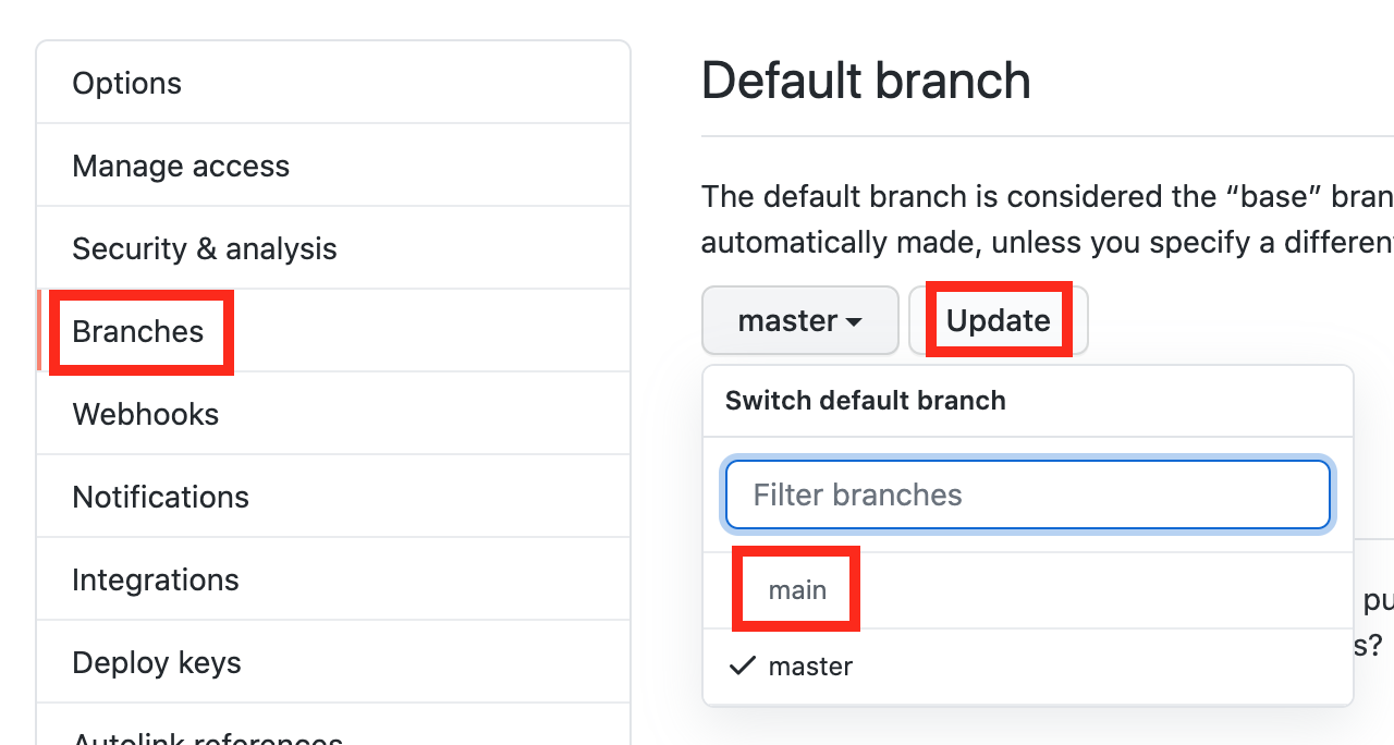 Set default branch to main