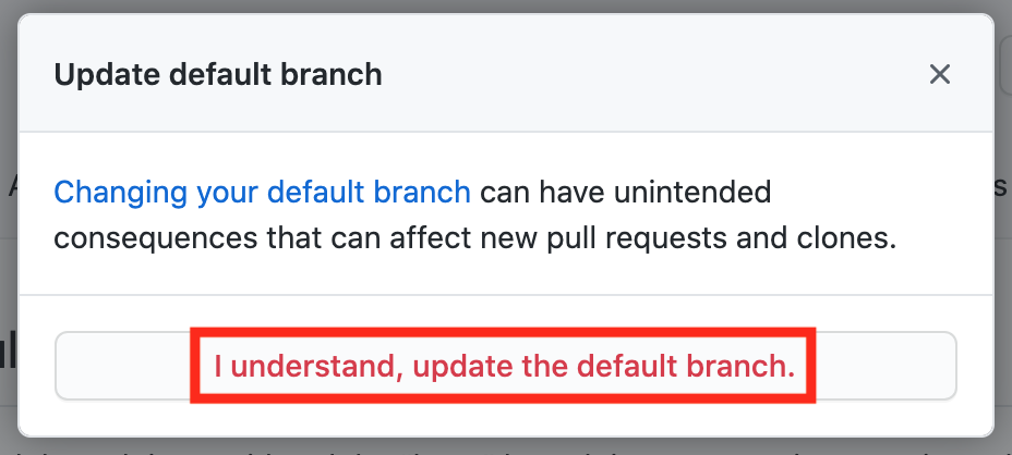 Confirm new default branch